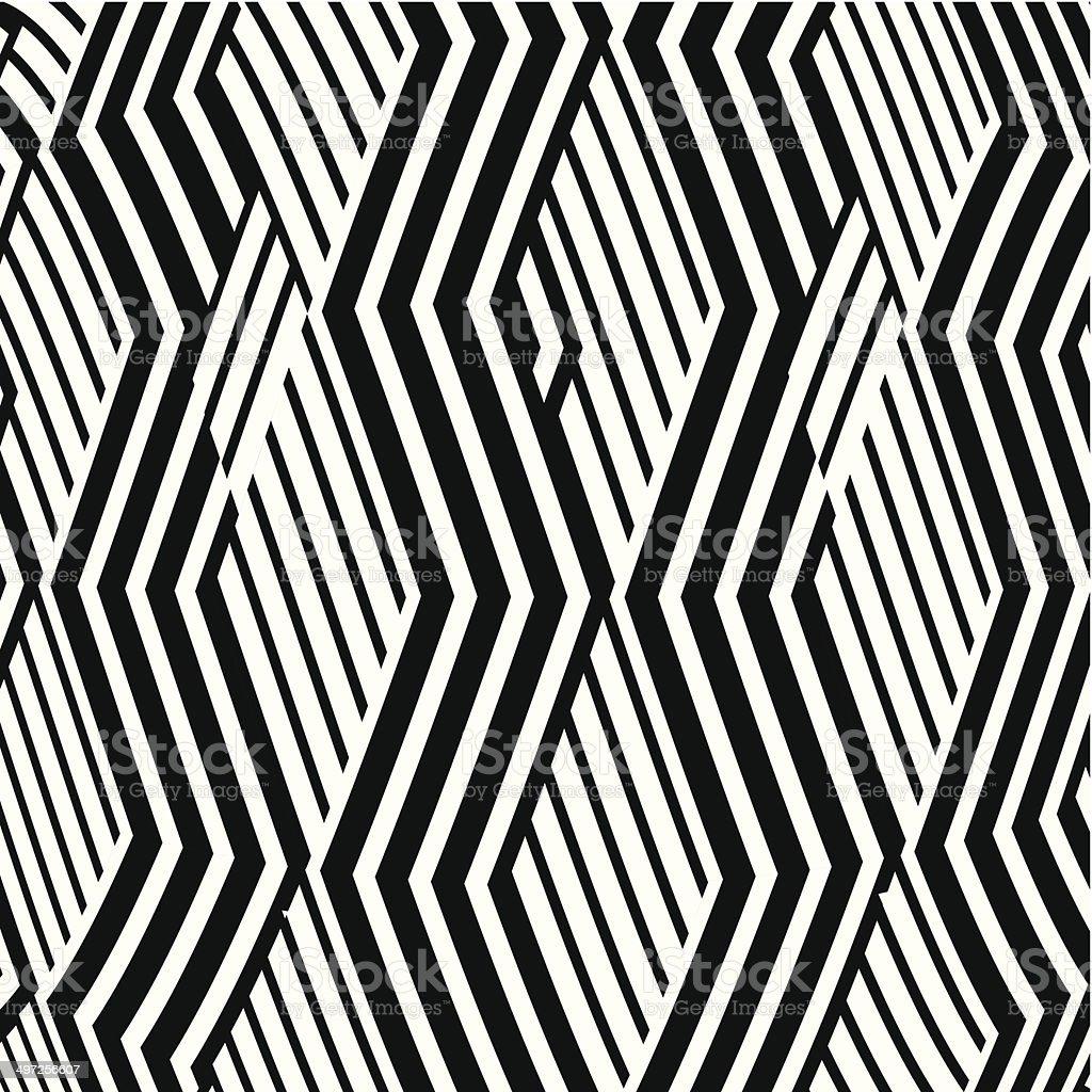 Abstrato preto e branco fundo de listras de Onda Padrão de - ilustração de arte em vetor