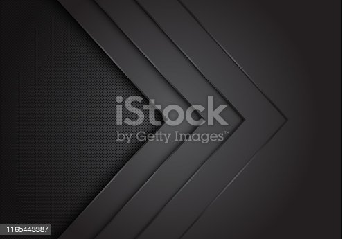 Abstract black arrow layer direction overlap with circle mesh pattern blank space design modern futuristic background vector illustration.
