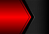 Abstract black arrow on red metallic blank space circle mesh pattern design modern futuristic background vector illustration.