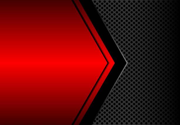 abstrakter schwarzer pfeil auf rot metallic leerzeichen kreis mesh-muster-design-moderne futuristische hintergrund-vektor-illustration. - edelrost stock-grafiken, -clipart, -cartoons und -symbole