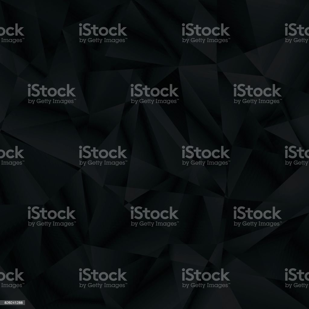 Abstract black background, triangle pattern vector art illustration