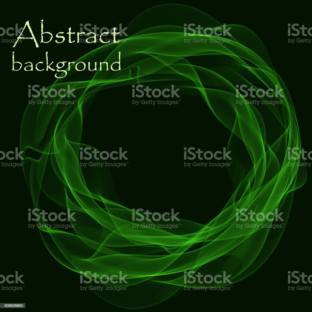 Abstract black background with colored lines in the form of a circle vector art illustration