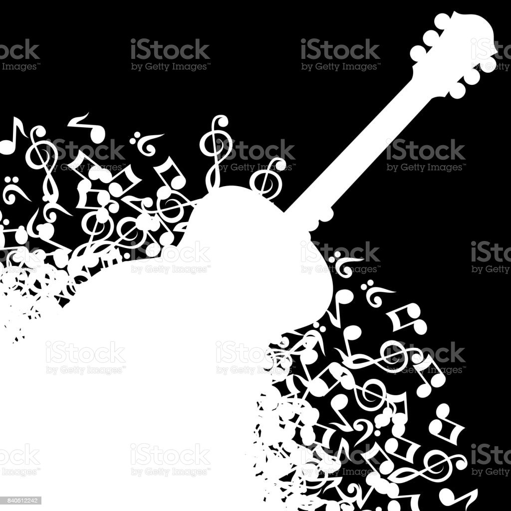 Abstract black background with guitar and notes. vector art illustration
