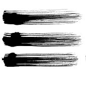 Abstract black brush stripe. Grunge brushstroke freehand ink decor. Black and white engraved ink art. Isolated brush design illustration element.