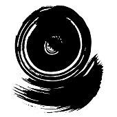 Abstract black brush stroke. Grunge brushstroke freehand ink decor. Black and white engraved ink art. Isolated ink brush stripe illustration element.
