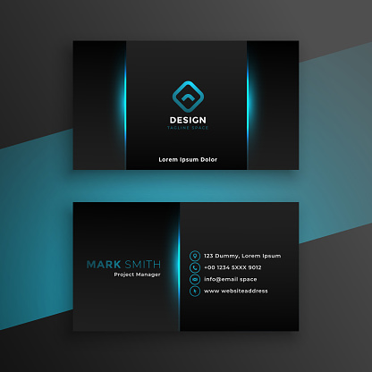 abstract black business card design with blue shade
