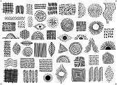 abstract black color geometric dot  line and curves clustered art shapes and forms, spotted doodles set, isolated vector illustration graphics
