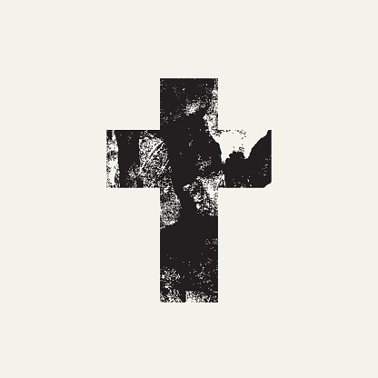 Abstract black cross on a light background