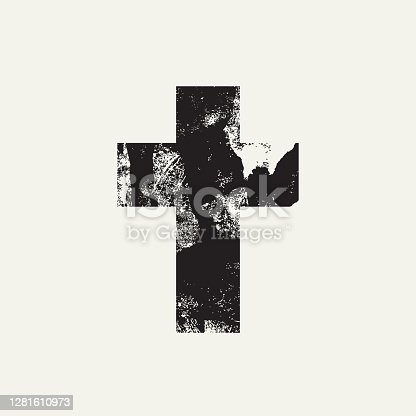 istock Abstract black cross on a light background 1281610973