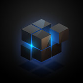Abstract black cube with blue light in vector