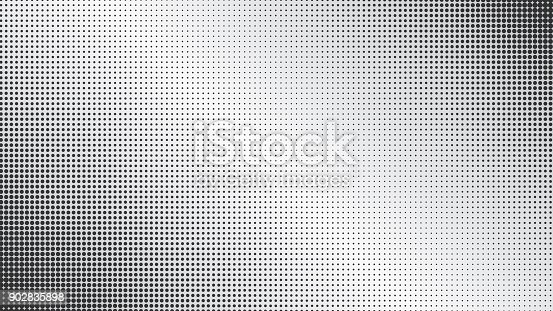 Abstract monochrome black dotted and gray diagonal gradiented background. Pop art retro texture for wallpaper, banner or presentation design