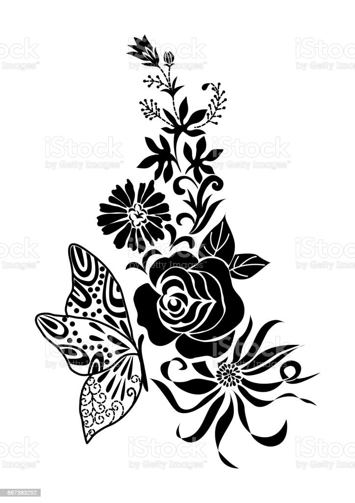 Abstract Black Flower Bouquet With Butterfly Tattoo Isolated Vector