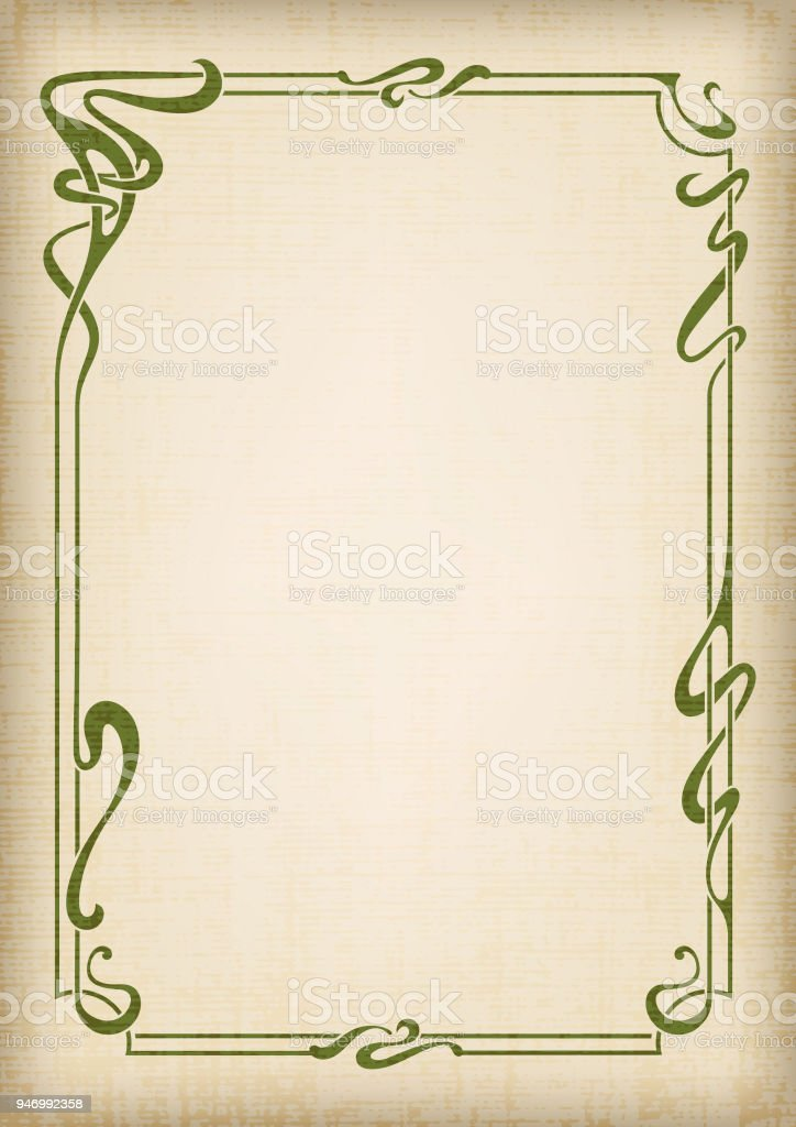 Abstract black framework in art-nouveau style, bound lines. Grunge and old paper effects. A3 page proportions. vector art illustration