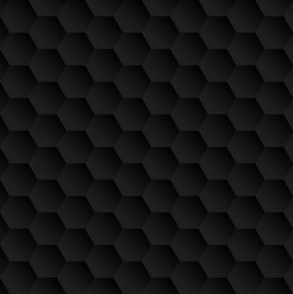 Abstract Black Gradient Colored Polygonal Hexagon Background.