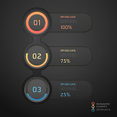 Abstract black infographics banner. can be used for workflow layout, diagram, step options, number options, web design template.