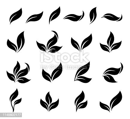 abstract decorative black leaves icons silhouettes set on white background