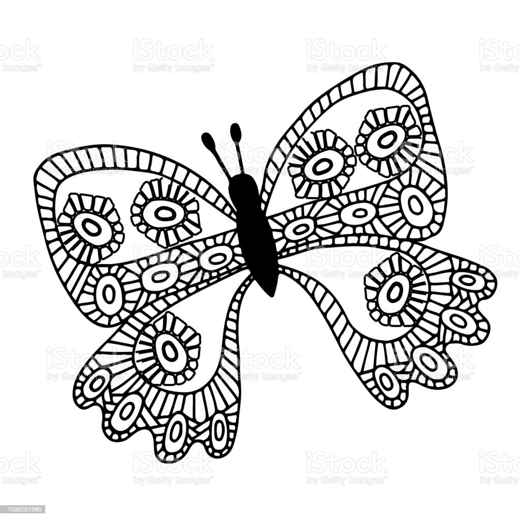 塗り絵のタトゥーの抽象的な黒い線分離蝶 いたずら書きのベクター
