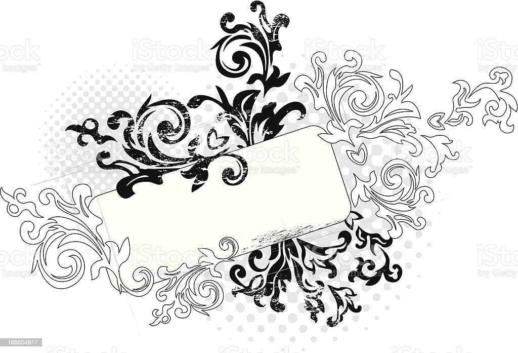 Abstract Black Outline Floral Grunge Design Stock ...