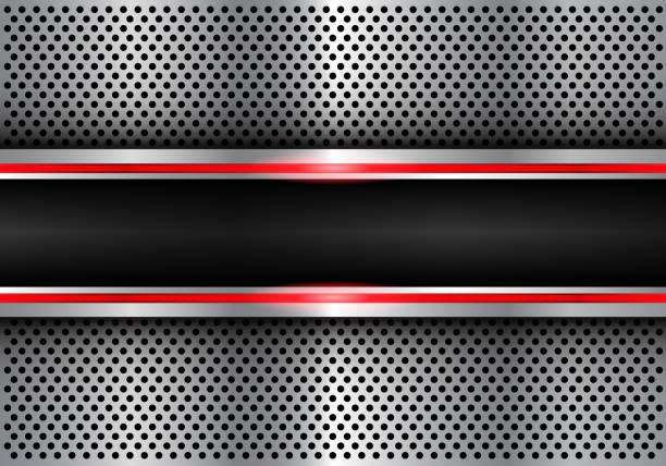 abstrakt schwarz rote linie leichte banner auf metall kreis mesh design moderne futuristische hintergrund vektor-illustration. - edelrost stock-grafiken, -clipart, -cartoons und -symbole