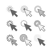 Abstract black sharp point active click cursor icons set on white background
