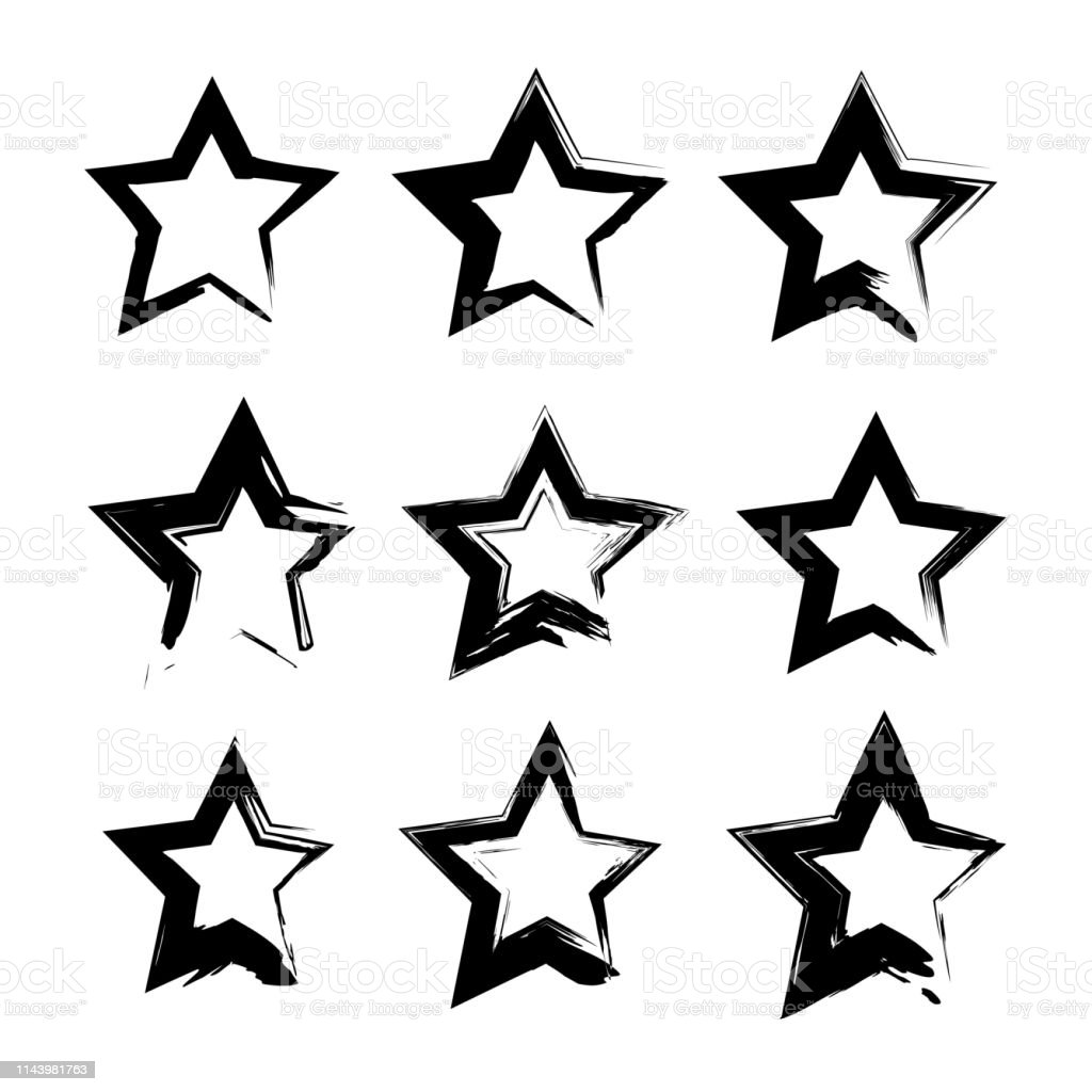 Abstract black star shape textured smears set isolated on a white...
