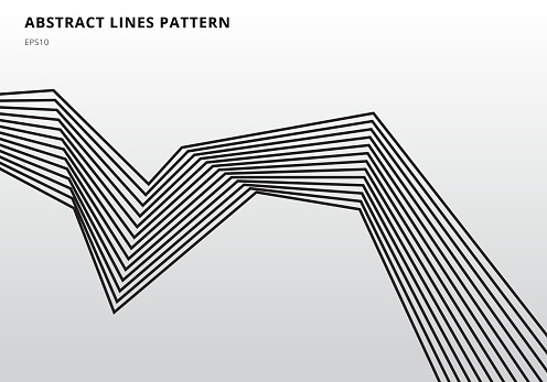 Abstract black stripe lines graphic optical art on white background