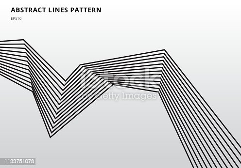 Abstract black stripe lines graphic optical art on white background. Vector illustration