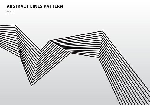 Abstract Black Stripe Lines Graphic Optical Art On White Background - Stockowe grafiki wektorowe i więcej obrazów Abstrakcja