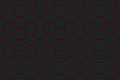 Abstract black texture background hexagon pattern seamless. Vector