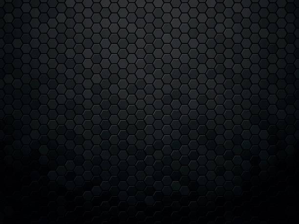 Abstract black texture background hexagon vector art illustration