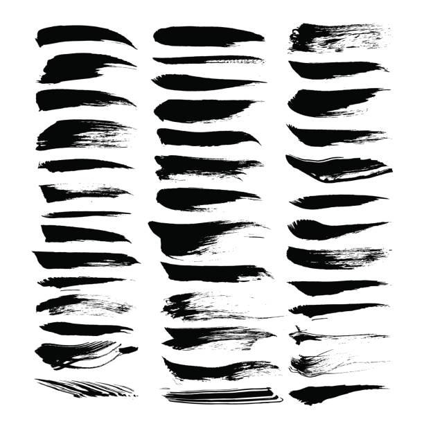 stockillustraties, clipart, cartoons en iconen met abstract zwart geweven inktstreken geïsoleerd op een witte achtergrond - stamppot