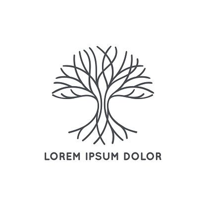 Abstract black tree logo on a white background. Modern illustration. Isolated vector. Great for emblem, monogram, invitation, flyer, menu, brochure or any desired idea.