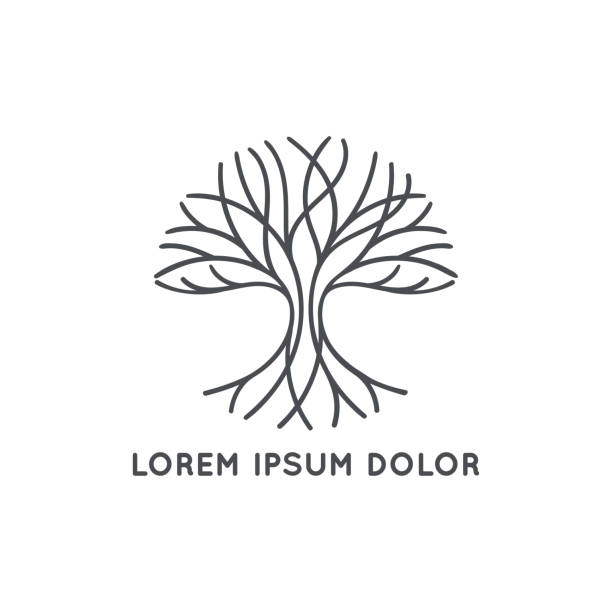 Abstract black tree logo on a white background. Modern illustration. Isolated vector. Great for emblem, monogram, invitation, flyer, menu, brochure or any desired idea. Vector illustration trees stock illustrations