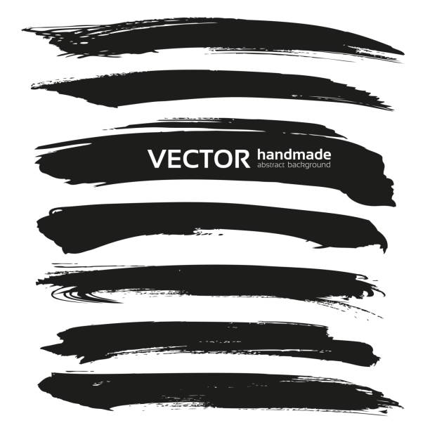 abstract black vector brush strokes isolated on a white backgrou - uderzać stock illustrations