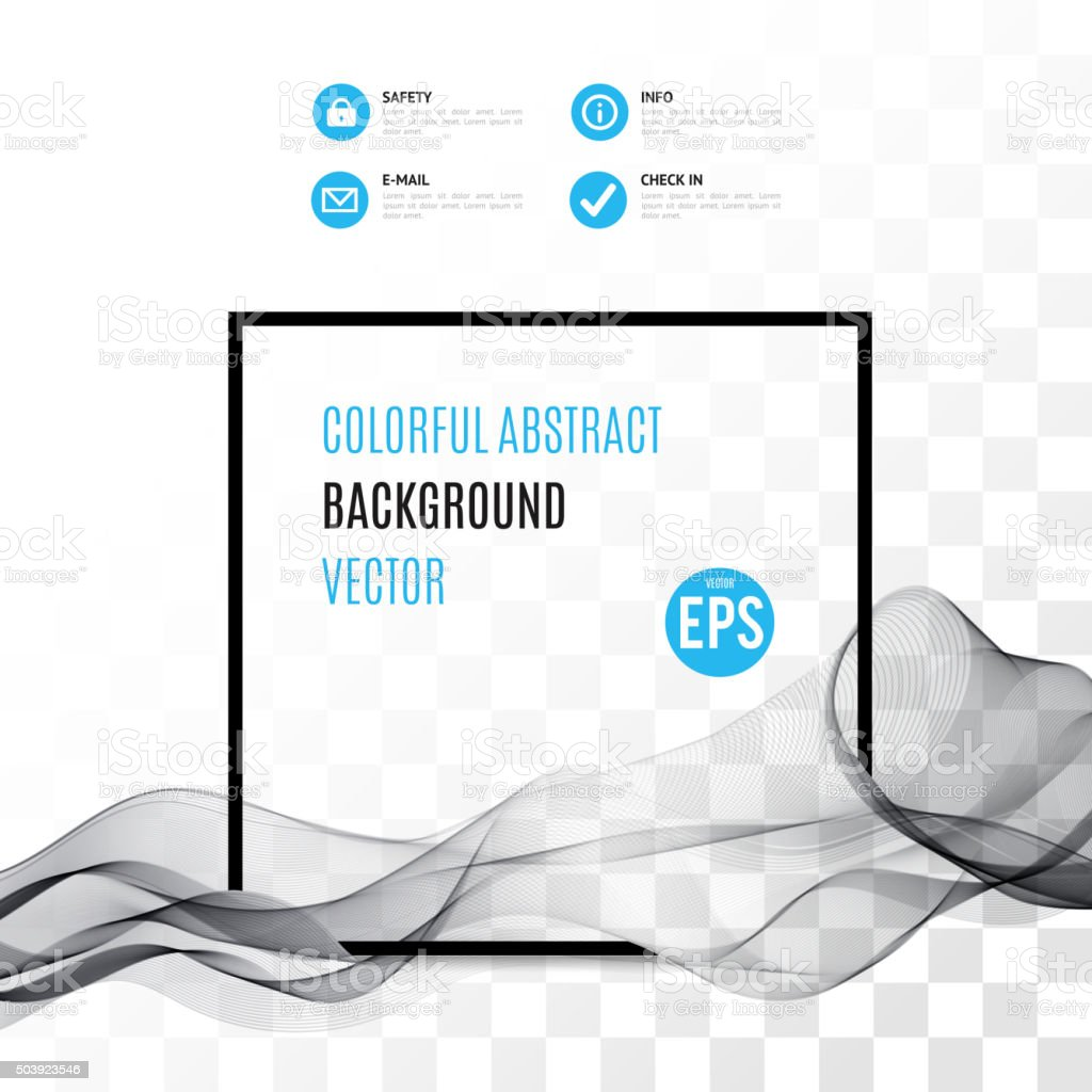 Abstract black wave with on transparent background vector art illustration
