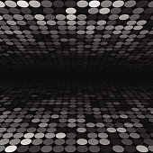 Abstract black, white and grey disco circles background