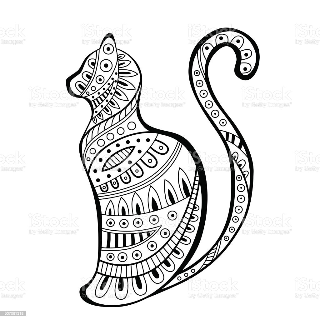abstract black white cat pattern illustration vector stock vector art  u0026 more images of abstract