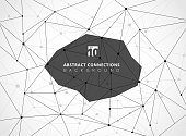 Abstract black wireframe lines geometric connections with nodes on white background. Vector illustration