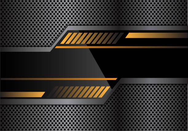 abstrakt schwarz gelb technologie banner auf grauen metall kreis mesh design moderne futuristische hintergrund vektor-illustration. - edelrost stock-grafiken, -clipart, -cartoons und -symbole