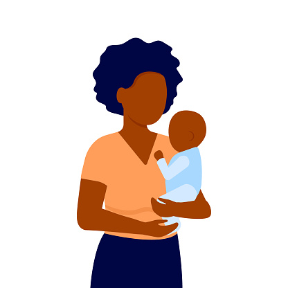 Abstract black young mother and baby son. Woman holds child in his arms. Family communication. Mother s day. Vector illustration on white background