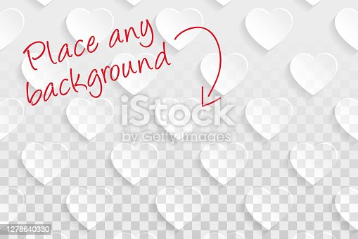 istock Abstract Blank background - Transparent Heart pattern 1278640330