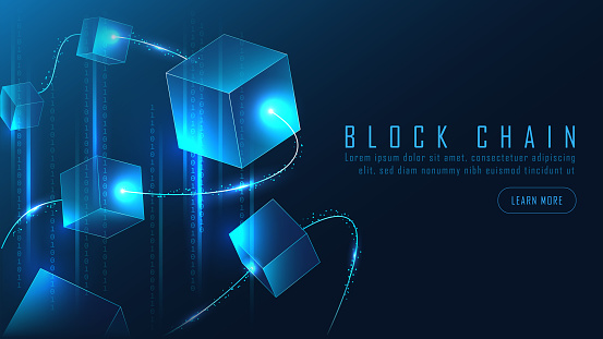 Abstract Blockchain banner in futuristic Concept of Digital Technology. Vector Illustration. Vector