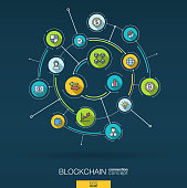 Abstract blockchain, crypto, fintech background. Digital connect system with integrated circles and flat icons. Network interact interface concept. Finance technology vector infographic illustration