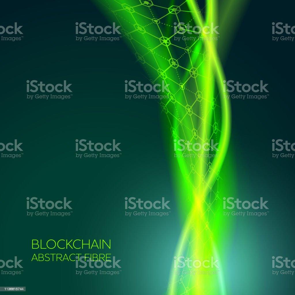 Abstract Blockchain Fiber Network Background vector art illustration