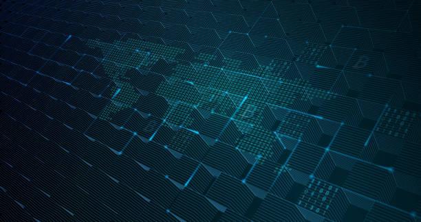 Abstract Blockchain Global Network Background vector art illustration