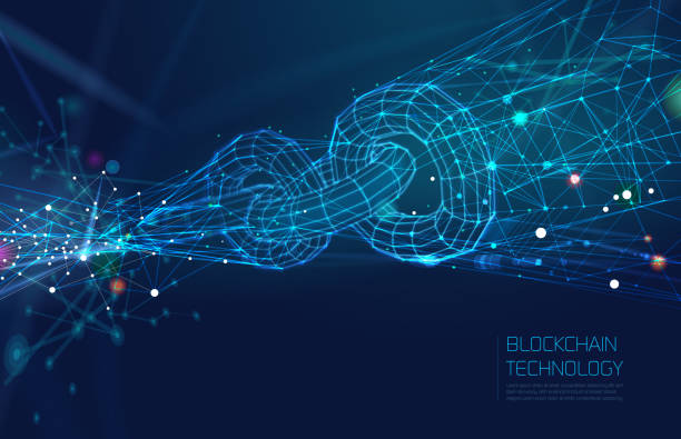 stockillustraties, clipart, cartoons en iconen met abstracte blockchain netwerk achtergrond - blockchain