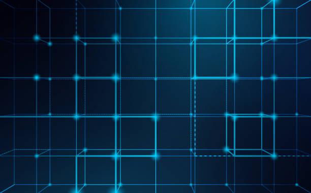 bildbanksillustrationer, clip art samt tecknat material och ikoner med abstrakta blockchain nätverk bakgrund - spetsig vinkel