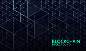Abstract vector illustration of blockchain network. File organized  with layers. Global color used.