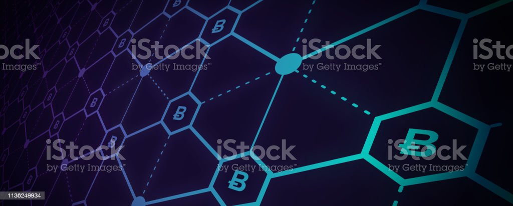 Abstract vector illustration of blockchain network. File organized...