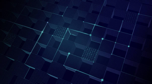 stockillustraties, clipart, cartoons en iconen met abstracte blockchainnetwerk achtergrond - blockchain